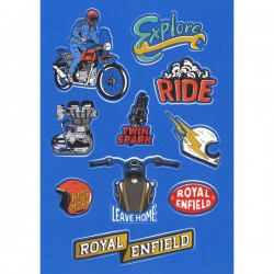 Planche Stickers bleue Royal Enfield